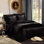 New 6PCS Silk Satin Duvet Cover Silky Bedding Set Fitted Sheet 4x Pillow Cases