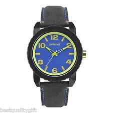 NEW-SPROUT BLACK NATURAL CORK STRAP WITH BLUE AND GREEN DIAL WATCH ST/7011BLBK
