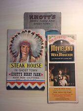 3 Buena Park CA - Knotts Berry Farm & Ghost Town / Movieland Vintage Brochures