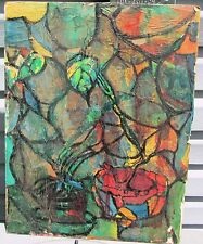 STILL LIFE IN STAINED GLASS STYLE by R. Freeman ACRYLIC ON MASONITE 15  X 19 1/2