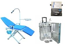 Dental Portable Unit + Folding Chair with LED Lamp + High& Low Handpieces Set 4H