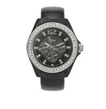 VIVANI Women's Black Round Bangle Watch Clear Simulated Crystal Stones New Tags