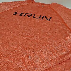 Under Armour Heat Gear Running T-Shirt Long Sleeve Fitted Mens XL Orange Heather