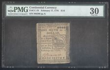 Continental Currency $1/6 February 17,1776 + Pmg + Vf30 + Fr# Cc-19 +No Reserve!