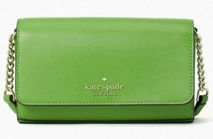 Kate Spade Staci Small Flap Chain Crossbody Green Saffiano WLR00132 NWT $239 Ret
