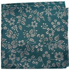 pure silk Battisti Pocket Square Leaf green with beige floral pattern