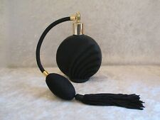 Black Satin Glass Perfume Bottle with Black Bulb Tassle/Spray Atomizer