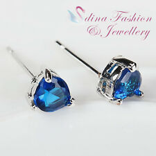 18K White Gold GP Made With Swarovski Crystal Small Heart Sapphire Stud Earrings