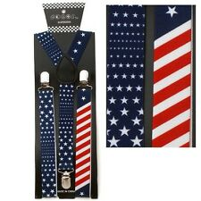 NEW USA PATRIOTIC ELASTIC BRACES CLIP ON Y-SHAPE SUSPENDERS US AMERICAN FLAG