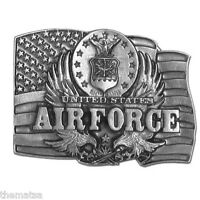 AIR FORCE MILITARY PEWTER MADE IN USA  USAF LOGO   FLAG BELT BUCKLE