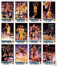 Los Angeles Lakers uncut sheet panel team set Magic Earvin Johnson Worthy Scott