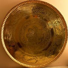 Handmade round plate brass copper / home decoration # 384