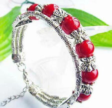Beautiful Tibet Silver Tibet Red Beads Bracelet