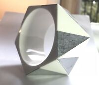 """Stunning Chunky Geometric Runway White Lucite Silver Metal BANGLE Thick Wide 2"""""""