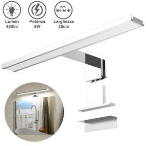 Lampada Specchio Bagno Applique Parete 30cm Luce LED 6W 6500K 480lm in Alluminio