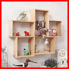 Timber Wall Hanging Shelf Display Cabinet Unit Crate Wooden Retro Storage A367-1