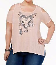 Jessica Simpson Casual Plus Boho Lorani Cold Shoulder Graphic Spirit Shirt-tee2X