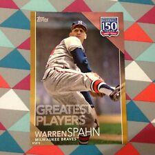 ##94 Warren Spahn Braves HOF 5x7 (#/10 made) Gold 2019 Topps 150 Years Greatest