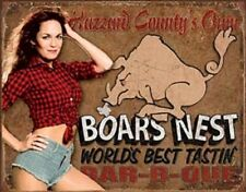 Boars Nest Bar-B-Que Daisy Duke Of Hazard Novelty TIN SIGN Vintage Poster Decor
