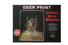 "Deer Print Luxury Mink Plush Blanket Bedspread.79"" X 94"" Inches"