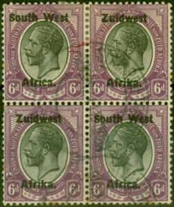 S.W.A 1923 6d Black & Violet SG21 Good Used Block of 4