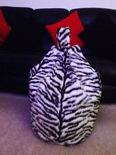 Bean Bag Filled White Tiger Faux Fur 3 CUBIC FT Children's Beanie Christmas gift