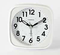 Champion Table Alarm Clock Bold Traditional White Quartz Sweeping Non Ticking