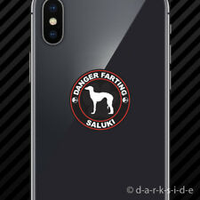 (2x) Danger Farting Saluki Cell Phone Sticker Mobile dog canine pet