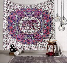 Indian Elephant Mandala Bedspread Bed Cover Hippie Tapestry Beach Throw Queen