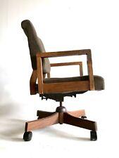 Vintage Executive Office Mid Century Danish Modern Chair Wood Brass Swivel Desk