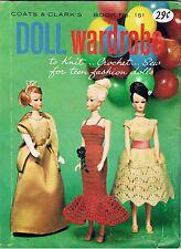 1964 Barbie Ken SEW Knit CROCHET Patterns Coats & Clarke No 151 Doll Wardrobe