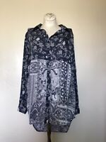Soft Surroundings S down down tunic floral paisley print soft blue and gray cute