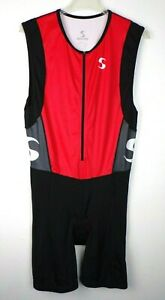 Synergy Triathlon Cycling Bike Bib Race Singlet Mens XL Padded 1/2 Zip Black Red