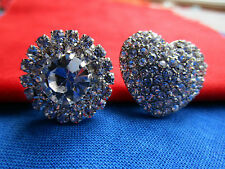 3043-I – Two Gorgeous Perfect Faceted Rhinestone-Paste Buttons Including 1 Heart