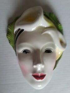 "Vintage-RARE 1986 Vandor Lotus Porcelain Wall Mask Pelzman Designs Made Korea 8"""