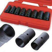 "8pc Locking Wheel Lug Nut Remover Worn Locked Studs 1/2"" Dr. Impact Socket Tool"