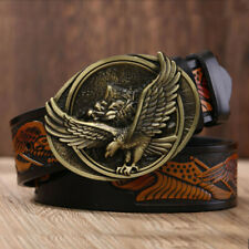 Men Special Leather Belt Eagle Totem Copper Smooth Buckle Retro For Street Jean