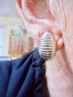 Authentic Vintage 1980's Silver Tone Shrimp Clip Earrings