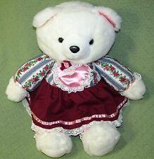 """Vintage K Mart Teddy Bear 1986 LARGE White in Burgundy Pink Floral Dress 22"""" Toy"""