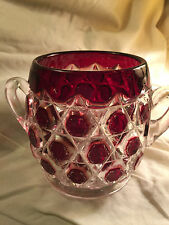 Ruby Red Block EAPG Sugar Bowl Vase Cranberry Lattice Clear Bubble Vintage Glass