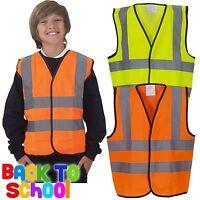 Children's Hi-Vis Waistcoat High Visibility Kids Boys Girls Hi Viz Vest School
