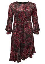 Kleid aus Samt mit Blumenmuster und Volants