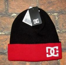 MENS DC SHOES BEANIE HAT BLACK RED CAP ONE SIZE
