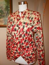 Vintage Floral Loose Weave Fall 100% Wool Cardigan Sweater 50s 60s Size Small S