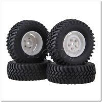 4xRC1:10 Rock Crawler Black 100mm OD Rubber Tyre+White 4-holes Plastic Wheel Rim