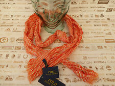 "POLO RALPH LAUREN Scarf GINGHAM 16x74"" Crinkle Orange Cotton Scarves BNWT RRP£60"