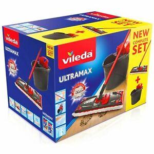 Vileda UltraMax Flat Mop With Bucket Complete Ultramax System Refill Mop Heads