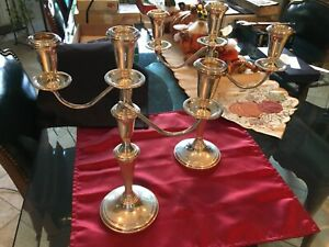 Pair of Reed & Barton Sterling Silver 3 Light Convertible Candelabra Model #434