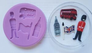 LONDON GUARD, BUS, BIG BEN SILICONE MOULD FOR CAKE TOPPERS CHOCOLATE CLAY ETC