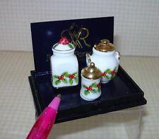 Miniature Reutter Christmas Mistletoe Canister Set (3): DOLLHOUSE 1:12